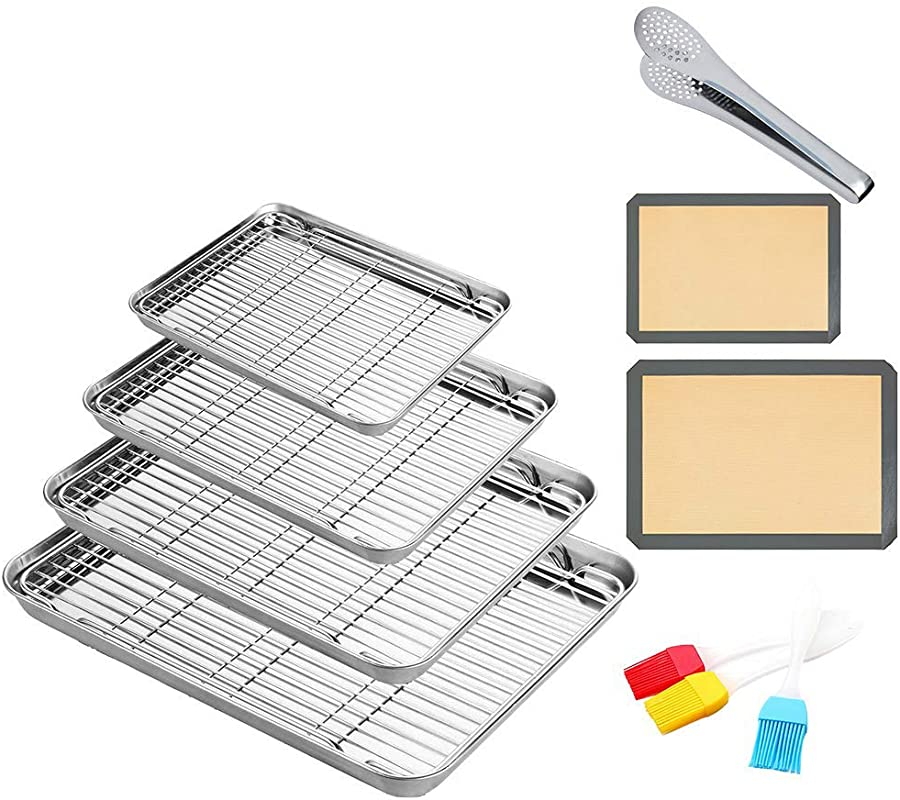 Stainless Steel Baking Sheet With Cooling Wire Rack Non Toxic Healthy Rust Free Heavy Duty Mirror Finish Easy Clean