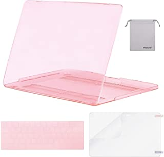 Mosiso MacBook Pro 13 Case 2017 & 2016 Release A1706/A1708, Plastic Hard Case Shell with Keyboard Cover with Screen Protector with Storage Bag for MacBook Pro 13 Inch, Crystal Pink