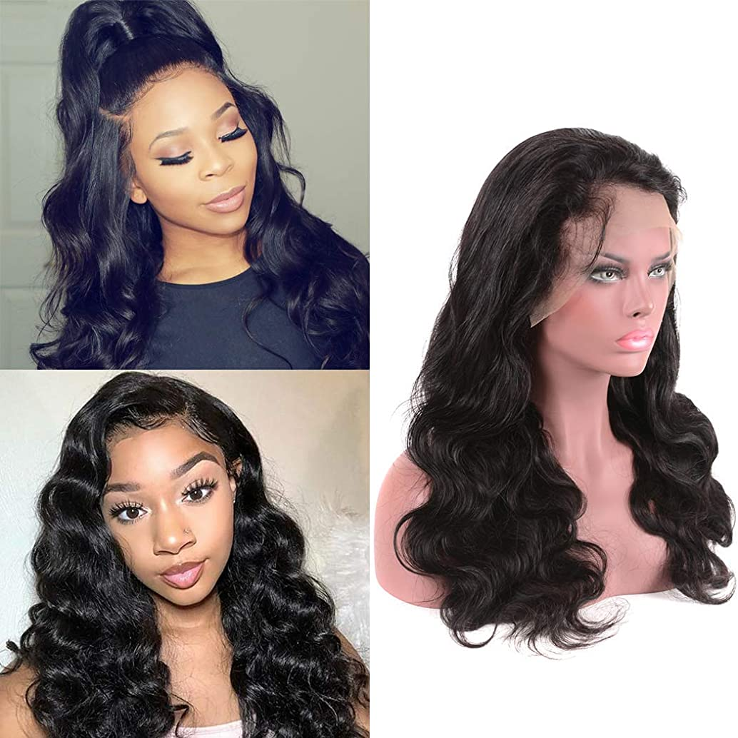 Glueless Lace Front Human Hair Wigs For Women Black Brazilian Unprocessed Body Wave Wigs Pre Plucked With Baby Hair 150 Density Bleached Knot Mink Real Virgin Real Human Hair Free Part 12 Inch
