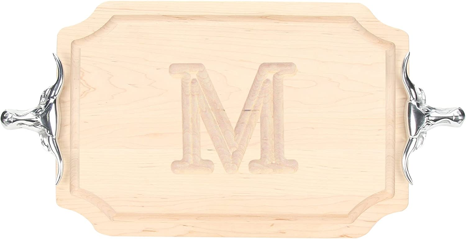 BigWood Boards 310-SLH-M Cutting Board with Longhorn Cast Aluminum Handle with Scalloped Corners, 12-Inch by 18-Inch by 1-Inch, Monogrammed M , Maple