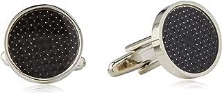 BUCKLE 1922 Men's Black Carbon Fibre Cufflinks, Nickel Brushed, One Size