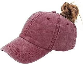Ponytail Baseball Hat Distressed Retro Washed Cotton Twill