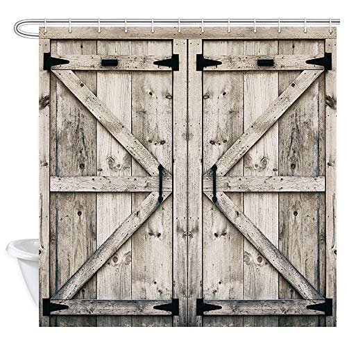 Rustic Wooden Vintage Wood Shower Curtain, Farmhouse Wooden Shower Curtain Country Barn Door Shower Curtain with 12 Hooks, Waterproof Garage Cabin Shower Curtain, 69X70in (Wooden Door)