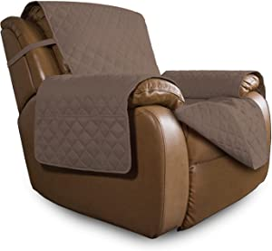 Easy-Going Oversized Recliner Chair Cover Reversible Sofa Cover Water Resistant Couch Cover Furniture Protector with Elastic Straps for Pets Kids Dog Cat (Oversized Recliner, Brown/Brown)