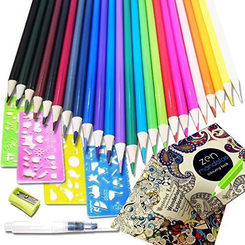 SPROUTER 32 Stück Wasserlösliches Farbstiftset 24 Farbstifte mit 4 Schablonen, 1 Wasserpinsel, 1 Anspitzer und Malbuch zum Zeichnen, Graffiti, Mandala, Stressabbau, Geschenk für Erwachsene und Kinder