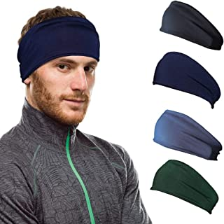 Workout Hairband Headband Sweatband Moisture Wicking Absorbing Stretchy Sports Unisex Elastic Helmet Liner for Motorcyclin...