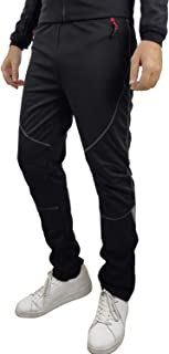 Santic Men's Windproof Fleece Cycling Pants Long Thermal Multi Sports Trousers Winter Black