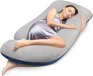 بالش های بارداری برای خواب ، cauzyart 55 اینچ بالش کامل بدن U -Shape و پشتیبانی حاملگی - برای پشت ، باسن ، پاها ، شکم با روکش مخملی قابل شستشو (خاکستری و آبی سرمه ای)