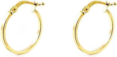 Orecchini a cerchio da donna 17x1.5 mm - oro giallo 18K (750)