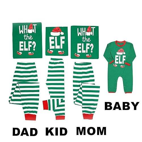 070793ded7 Mikrdoo Family Matching Christmas Pajamas Sleepwear Letter Printed Long  Sleeve Tops Green Striped Pajamas Pant Set