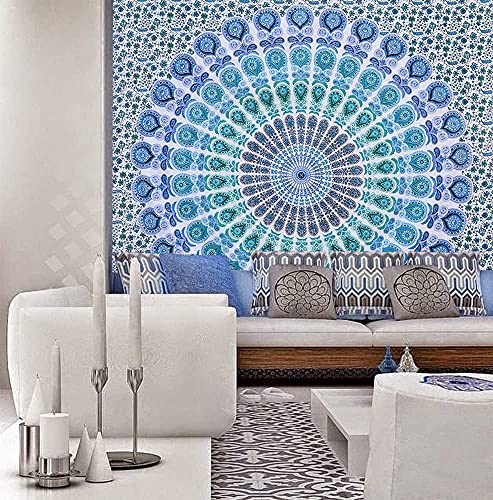 Indian hippie Bohemian Psychedelic Golden Blue Peacock Mandala Wall hanging Bedding Tapestry (Peacock Sky Blue, Queen (84x90Inches)(215x230Cms))