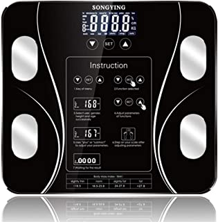 HJTLK Básculas de baño Digitales, Báscula de baño Báscula de Grasa Corporal, Pantalla LCD, Básculas de pesaje Inteligentes electrónicas de índice Corporal, 180 kg, Negro