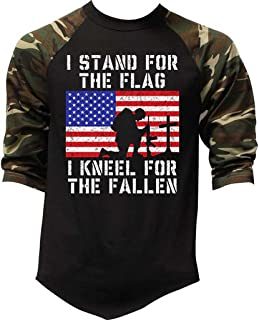 Men's I Stand for The Flag Kneel Fallen Camo Raglan Baseball T-Shirt Camo
