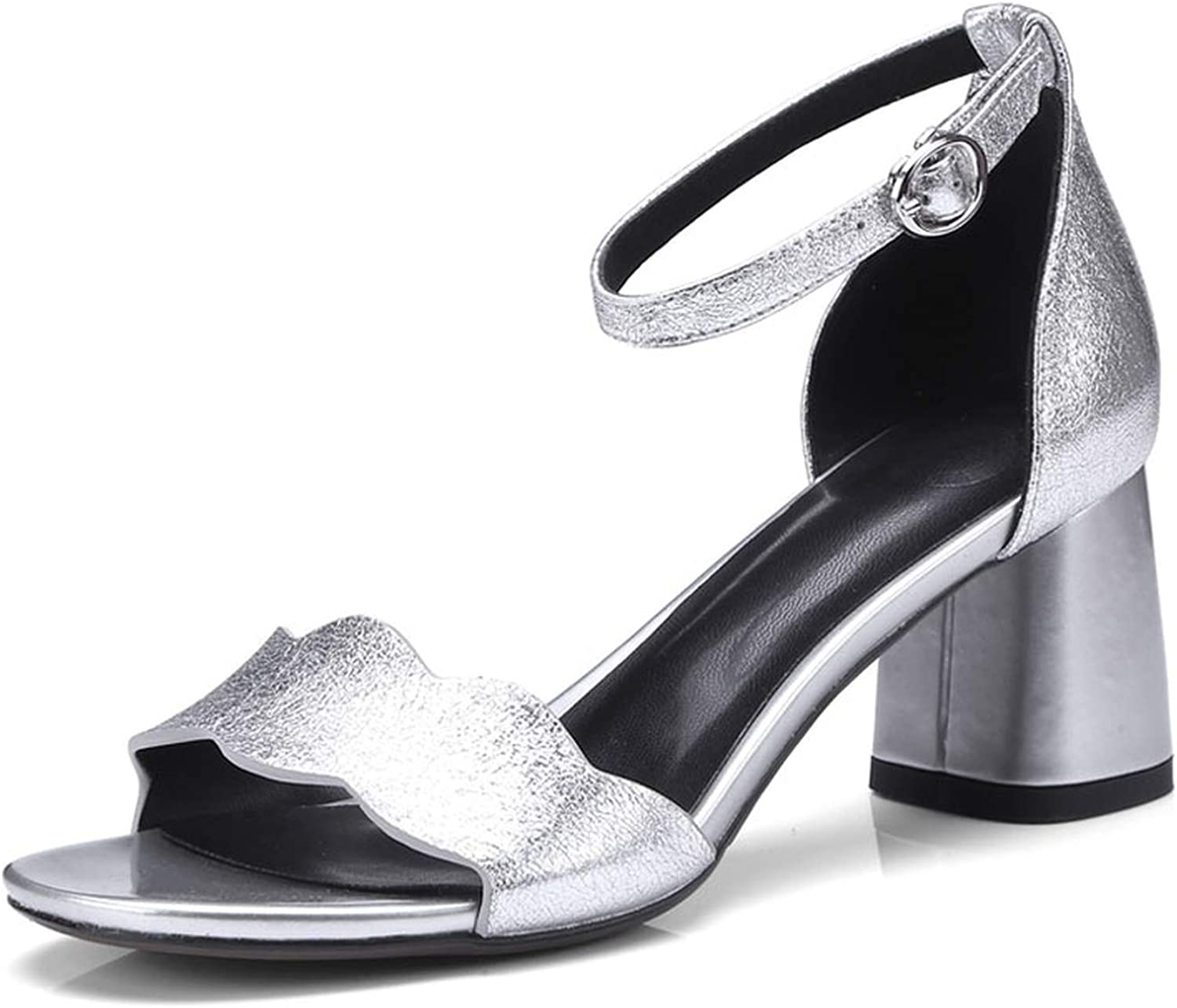 Summer Genuine Leather High Heel Sandals shoes Women Ankle Strap High Heels Party shoes Thick Pumps Silve