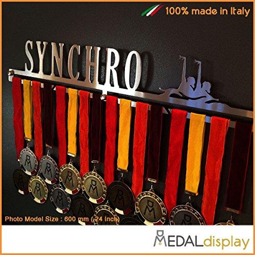 MEDALdisplay Synchro | Porta medaglie Nuoto Sincronizzato/Medagliere da Parete Medal Hanger (450 mm x 80 mm x 3 mm)