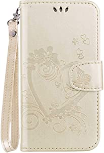DENDICO Xiaomi Case Shockproof Leather Flip Wallet Case for Xiaomi 4X  Protective Skin Cover with TPU Silicone Inner Case and Card Holder Rose Gold
