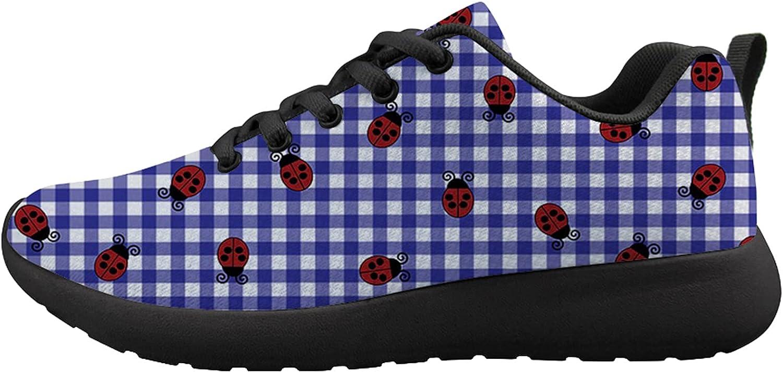 Ohio Symbol Ladybugs On Plaid Unisex Adult Cushioning Running Shoe Athletic Walking Tennis Shoes Fashion Sneakers