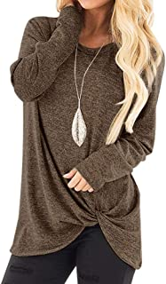 HebeTop Women's Comfy Casual Short Sleeve Side Twist Knotted Tops Blouse Tunic T Shirts