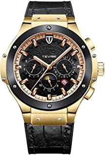 Lixada T828A Business Men Automatic Mechanical Watch Week Month Calendar Display Moon Phase Fashion Casual Timer Leather Strap 3ATM Waterproof Male Wristwatch