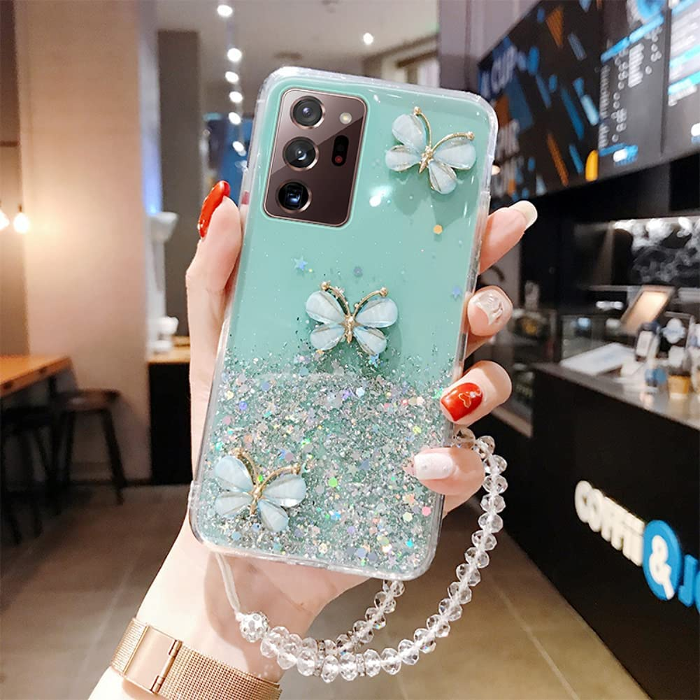 ISYSUII Crossbody Phone Case for Samsung Galaxy S8 Butterfly Glitter Sparkle Bling Paillette Stars Diamond Case Flexible Soft Silicone Protective Cover with Neck Cord Lanyard Strap,Green