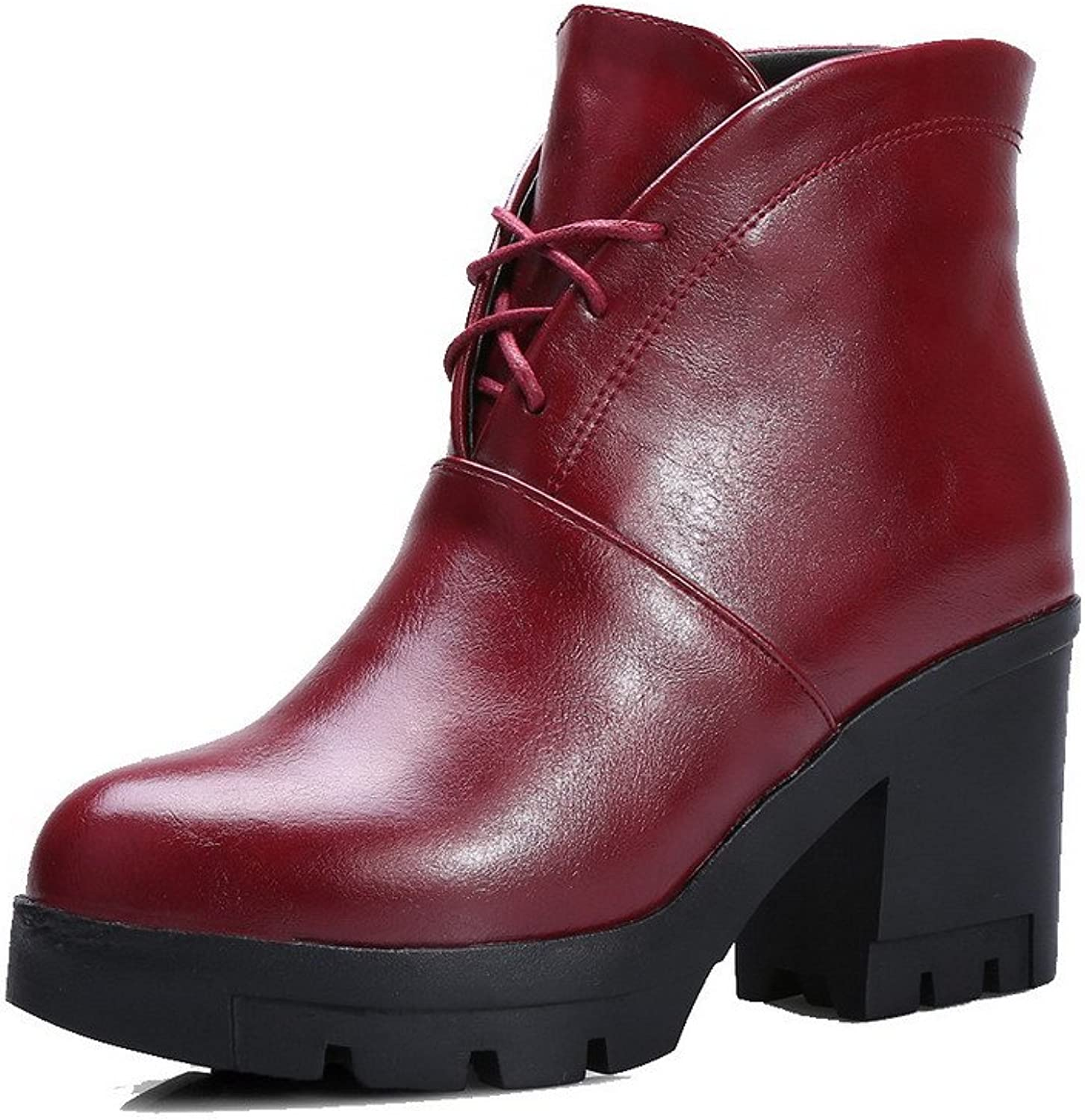 AllhqFashion Women's Soft Leather Lace-up Round Closed Toe High-Heels Low-Top Boots