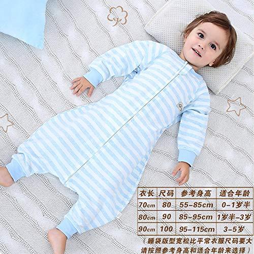 QFYD FDEYL Sac de Couchage en Coton Biologique,Sac de Couchage bébé Respirant en Coton Fin Printemps et Automne-Bleu Clair_80 mètres 0-2 Ans,Cotton Fille Garçon Sac de Couchage Bébé Enfant Hiver