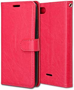 CAXPRO  Xiaomi Case  Shockproof Wallet Cover for Xiaomi 6A  Slim Leather Notebook Style Case with Soft TPU Inner Bumper  Red
