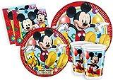 Ciao-Kit Party Tavola Mickey Mouse Club House per 8 Persone (44 Pezzi Ø23cm, 8 Piatti Ø20cm, 8 Bicchieri, 20 Tovaglioli), Multicolore, S, Y2496