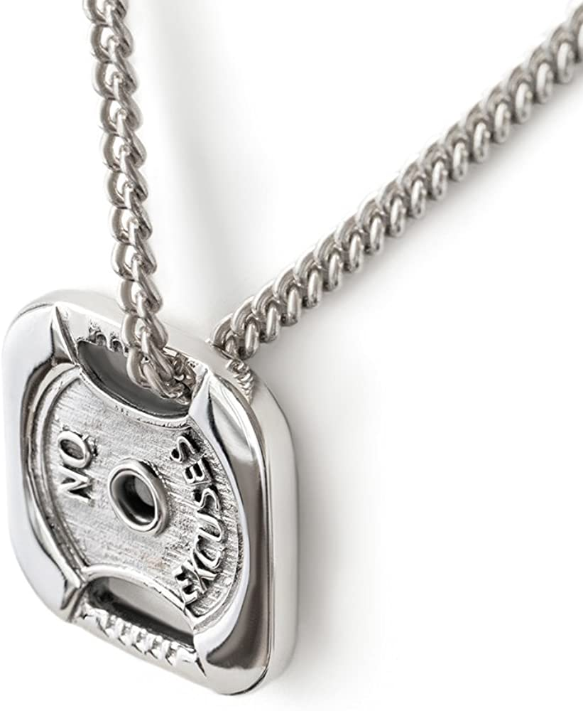 Sterling Silver Weight Plate Necklace No F Cheap Fashion sale Charm Excuses Pendant