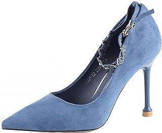b4bf21a816bd69 Printemps Nouveau Pointu Talons Hauts Stiletto Bouche Peu Profonde  Chaussures De Mode Une Boucle De Mot