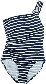 Women's Striped One-Shoulder One-Piece Swimsuit
