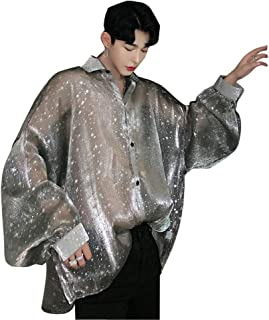 Men See Through Long Sleeve Transparent Oversize Loose Casual Shirts Streetwear Hip Hop Night Club Dress Shirt Grey