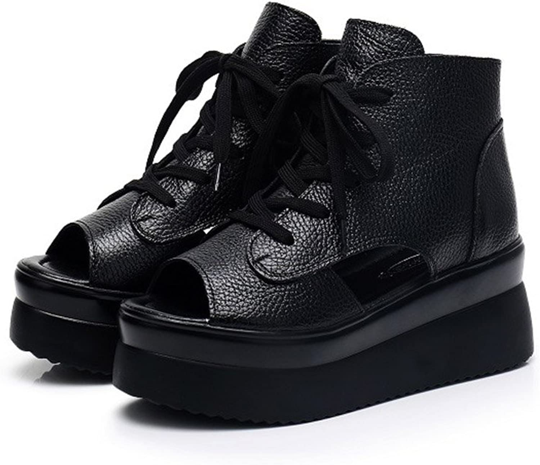 Women's shoes Leather Summer Comfort Boots Heels Sandals Wedge Heel Open Toe Waterproof Platform for Outdoor Black