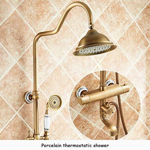 irugh Duscharmaturen Wandmontage Thermostat Dusche Mischbatterie Antik Messing Doppelgriff Mit Schiebestange Dusche Für Badezimmer-Antiquität