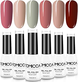 TOMICCA Gel Nail Polish Set 6 Colors, Soak Off UV LED Gel Nail Art, Nail Lacquer Varnish
