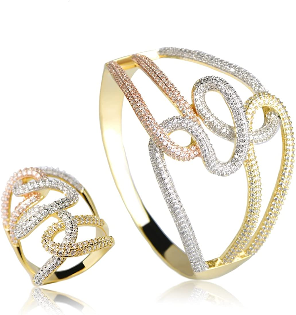 MECHOSEN Brass Copper Metal Jewelry Sets Bangle&Ring Shiny Cubic Zirconia Inlay 3 Colors Plated