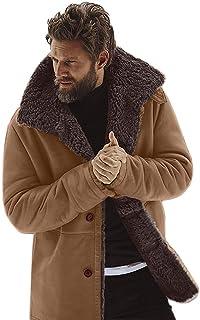 Pingtr Mens Thicken Plush Fleece Cardigan Coat, Men's Winter Sheepskin Jacket Warm Wool Lined Mountain Faux Lamb Jackets Coat