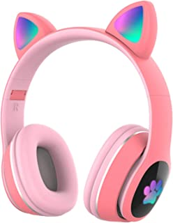 $22 » Docooler Wireless Headset L400 Over Ear Music Earphones Glowing Cat Ear Headphones 7 Color Breathing Lights Foldable BT5.0...