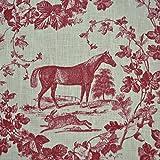 Leinenstoff | Das Edle Pferd - Bordeauxrot (Toile de Jouy