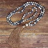 108 perline collana mala 8mm pietre naturali con perline lava collana lunga nappa donne lariat knottated meditation collana gioielli