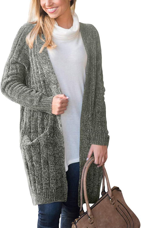 Julitia Women's Clothing Winter LongSleeved Knitwear Long Coat Cardigan Sweater