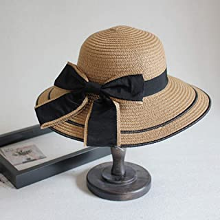 Asdfnfa Sun Hat Women's Straw Hat Summer UV Folding Beach Hat Big Hat Fishing Hat (Color : Brown)