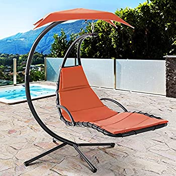 Vongrasig Outdoor Hanging Hammock Chaise Lounge Freestanding Curved Hammock Swing Chair w/Arc Stand Umbrella Canopy&Built-in Pillow Floating Chaise Swing Chair for Garden Backyard Poolside  Orange