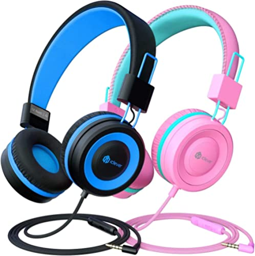 2 Pack Casque Audio Enfant, iClever Ecouteurs Enfants Filaire, Bandeau Réglable avec 85/94 DB Volume Limité, Ecouteur...