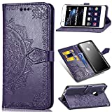 Qiaogle Funda para Huawei P10 Lite - PU Cuero Mandala Billetera Clamshell Carcasa Cover para Huawei P10 Lite - SD15 / Púrpura