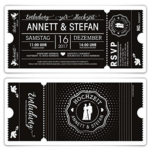 10 x Hochzeit Einladungen Einladungskarten Schwarz-Weiß Ticket Eintritt schwarze Version