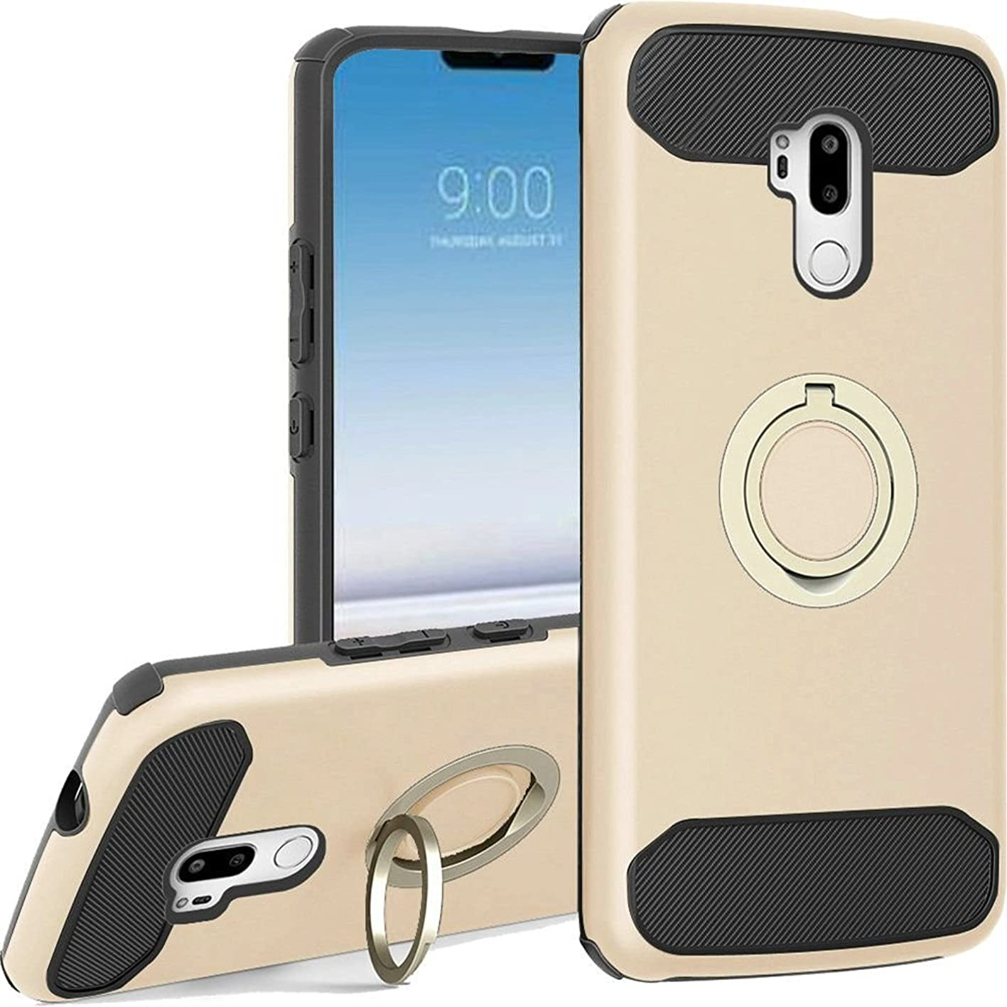 Luckiefind Compatible With LG G7/LG G7 ThinQ, Tough TPU Rubber Fused Hybrid Carbon Fiber Premium Design with Magnetic Ring Stand (Rose Gold) xegjevbffyp437