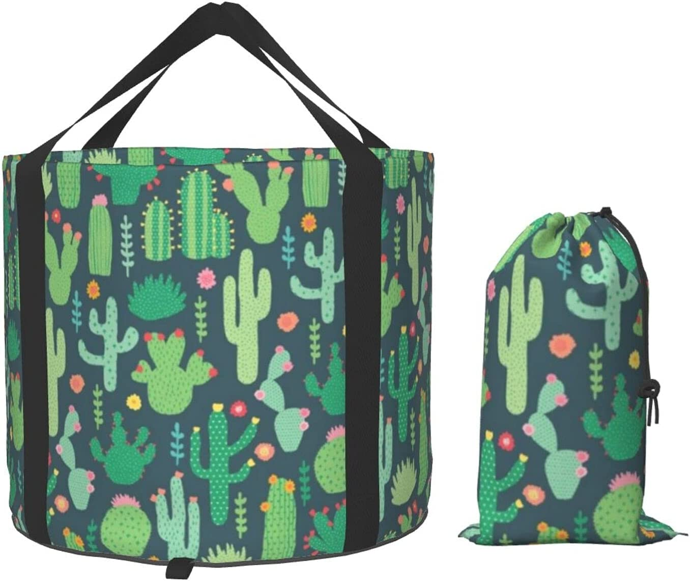 VVEGACE Cute Cactus Seamless Mu Outlet SALE Illustration Max 89% OFF Collapsible Bucket