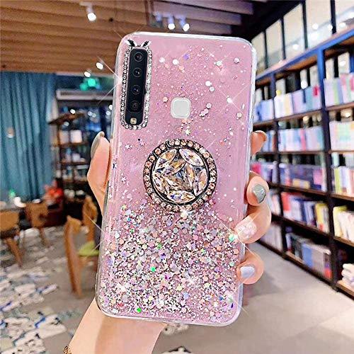 Samsung Galaxy A9 2018 Coque Transparent Glitter avec Support Bague,étoilé Bling Paillettes Motif Silicone Gel TPU Housse de Protection Ultra Mince Clair Souple Case pour Galaxy A9 2018,Rose