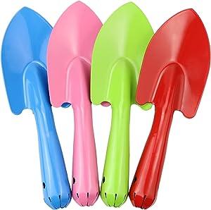 CZWESTC 4 Pcs Mini Shovel Set for Kids, Colorful Metal Trowel, Garden Hand Shovel Kits for Planting, Digging, Transplanting, Soil( Red, Blue, Pink and Green)